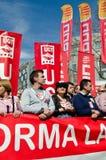 11M - protestation des syndicats à Barcelone Image libre de droits