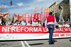 11M - protestation des syndicats à Barcelone Photo libre de droits