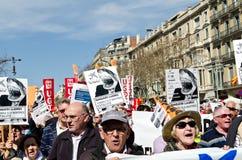 11M - protestation des syndicats à Barcelone Photographie stock libre de droits