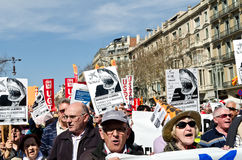 11M - unions protest in Barcelona Royalty Free Stock Photography