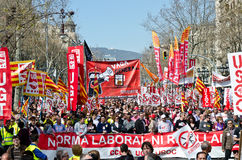 11M - unions protest in Barcelona Stock Images