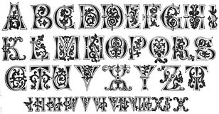 11th Century Initials and Roman Numerals. 11th Century Alphabet - Initials and Roman Numerals Stock Images