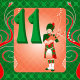 11th Day of Christmas. Vector Illustration Card for the 12 days of Christmas. Eleven Pipers Piping stock illustration