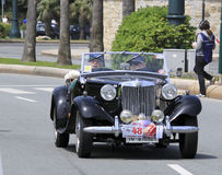 11th Vintage Racing Circuit of Genoa. An old MG car during the racing Stock Image