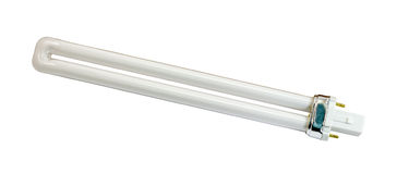 11W fluorescent tube lamp. Isolated on a white background stock photography