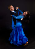 12个舞厅蓝色舞蹈演员 库存照片