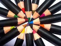 12个颜色铅笔 免版税库存图片