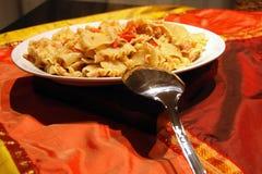 12月2007日意大利意大利面食表金枪鱼 免版税库存照片