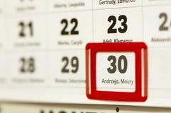 12月30日在日历标记的 免版税库存照片