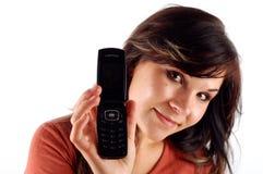 12移动电话妇女 免版税库存图片