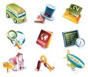 12部动画片图标零件集合样式旅行的向 免版税库存图片