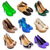 12 женских пестротканых ботинка Стоковая Фотография RF