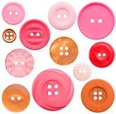 12 красного цвета res собрания кнопки высоких изолированных Стоковые Фотографии RF