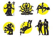 12 силуэта икон кино Стоковое Изображение