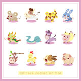 12 стикера животного зодиака шаржа китайских Стоковые Изображения