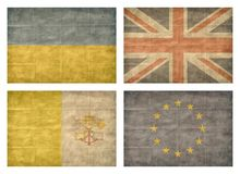 12/13 Flags of European countries. Vintage collection of european country flags isolated on white background. Ukraine, United Kingdom, Vatican, European Union vector illustration