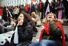 12 2010年意大利行军学校罢工 免版税库存照片