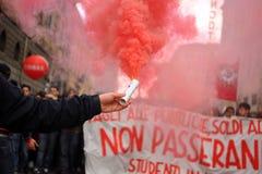 12 2010意大利行军学校罢工 库存照片