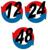 12 24 48时数图标 库存图片