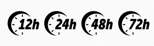 Free 12, 24, 48 And 72 Hours Clock Arrow Vector Icons. Delivery Service, Online Deal Remaining Time Web Site Symbols Stock Images - 146169174