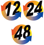 12,24,48 hour icon. Vector art of a 12,24 and 48 hour round the clock icon Stock Images