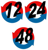 12,24,48 hour icon. Vector art of a 12,24 and 48 hour round the clock icon Stock Image