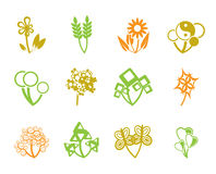 12 abstract flowers. Icon Vector Illustration