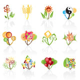 12 abstract flowers icons -vector icon set. 12 abstract flowers -vector icon Royalty Free Stock Photo