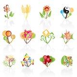 12 abstrakcjonistycznych kwiatów ikony ustawiający wektor Zdjęcie Royalty Free