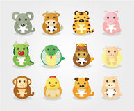 12 animal icon set,Chinese Zodiac animal stock illustration
