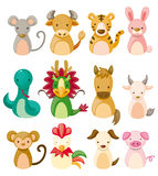12 animal icon set,Chinese Zodiac animal Royalty Free Stock Photography
