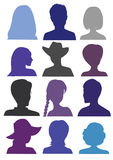 12 Anonymous Mugshots. 12 Anonymous Mugshot silhouettes, blue color Royalty Free Illustration
