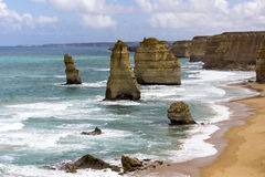 12 Aposltes. This is a shot of the 12 Apostles, one of the wonders of Australia. They are found on the Great Ocean Road in Victoria and are an awesome sight Stock Photo