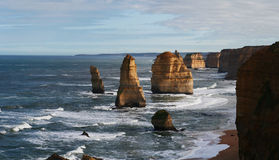 12 Apostles panorama view. 12 Apostles and ocean waves Stock Photo