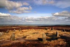 12 apostles stone circle. On Ilkley Moor, West Yorkshire, England Stock Photography