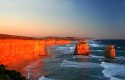 12 Apostles Sunset. Sunset over the Twelve Apostles, Victoria, Australia, on a clear evening stock photos
