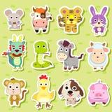12 autoadesivi cinesi dell'animale dello zodiaco royalty illustrazione gratis