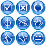 12 błękit ikony set Obrazy Royalty Free