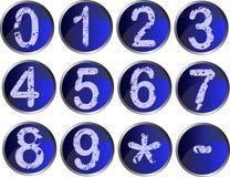 12 blaue Zahl-Tasten Stockfotos