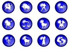 12 blue zodiac vector buttons Stock Photos