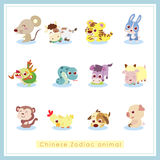 12 cartoon Chinese Zodiac animal stickers. 12 Chinese Zodiac animal stickers,cartoon vector illustration Royalty Free Stock Photo
