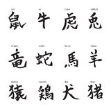 12 chinese zodiac. Calligraphed 12 chinese zodiac sign vector illustration