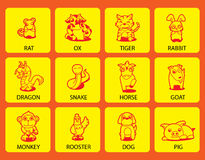 12 Chinese Zodiac animal. Cartoon  illustration Stock Photos