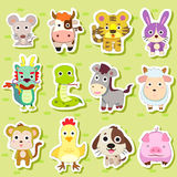 12 Chinese Zodiac animal stickers. Cartoon vector illustration Royalty Free Stock Photo
