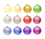 12 Christmas baubles. Isolated on white Stock Photos