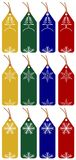 12 christmas tags. Set of 12 christmas tags with 4 different colors on white background Royalty Free Stock Photography