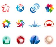 12 colorful vector symbols: (set 1). 12 different colorful vector symbols: (set 1 Stock Photo