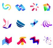 12 colorful vector symbols: (set 27). 12 different colorful vector symbols: (set 27 Royalty Free Stock Photo