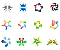 12 colorful vector symbols: (set 4) Royalty Free Stock Photography