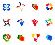 12 colorful vector symbols: (set 9). 12 different colorful vector symbols: (set 9 Royalty Free Stock Image